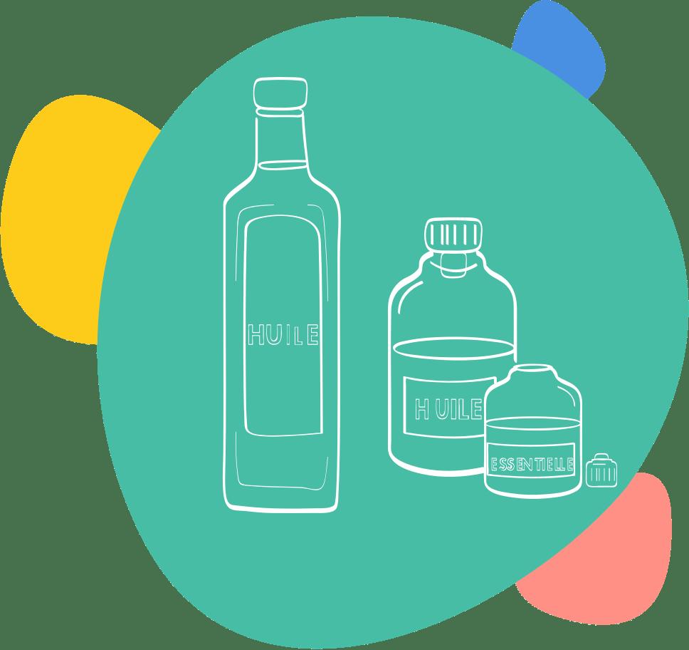 Dessin de flacons d'huiles végétales et esentielles