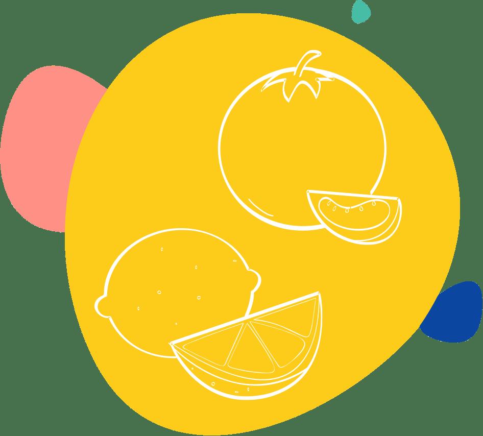 Dessin d'un citron et d'une tomate