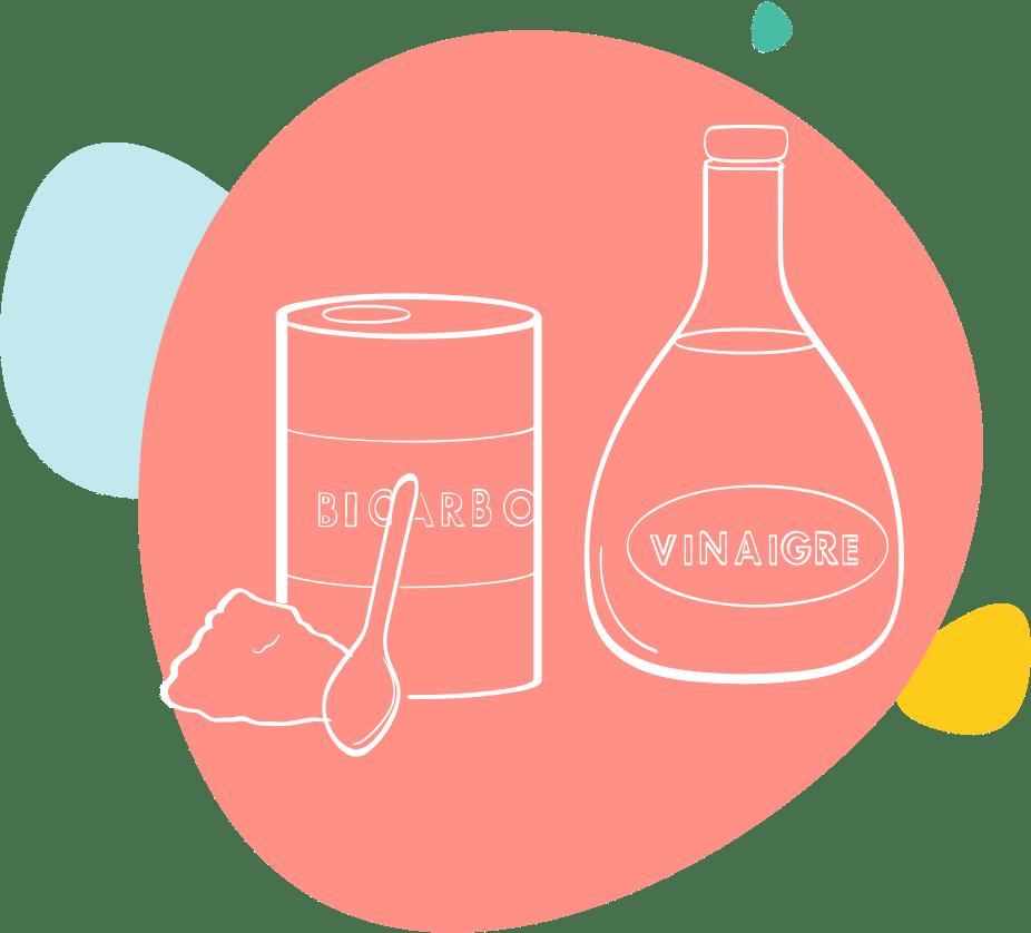 Dessin de bicarbonate de soude et de vinaigre